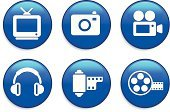 Home Video Camera,Television Camera,Entertainment,Filming,Television Set,Symbol,Computer Icon,Digital Camera,Icon Set,Digital Video Camera,Interface Icons,Circle,Blue,Push Button,Equipment,Curve,Headphones,White Background,Sparse,Technology,Isolated On White,Digitally Generated Image,Ilustration,Shiny,Concepts And Ideas,Modern,Luxury,Electrical Equipment,Camera Film,Vector,Illustrations And Vector Art,Small Group of Objects,Objects/Equipment,Simplicity,Film Reel,Design Element,Antenna - Aerial,Photo Film