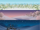 Landscape,Winter,Vector,Night,Town,Snow,Banner,Forest,Day,Hill,River,Non-Urban Scene,Backgrounds,Tree,Landscapes,Vector Backgrounds,Nature,Winter,Horizon,Dusk,Dawn,Horizontal,Illustrations And Vector Art