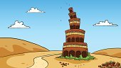 Tower Of Babel,Bible,Judaism,Cartoon,Desert,Old Testament,Built Structure,Non-Urban Scene,Christianity,Failure,Sky,Tall,Ilustration,Vector,No People,Rebellion