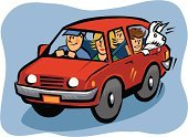 Car,Family,Cartoon,Driving,Child,Dog,Mother,Father,Vector,Road,Teenager,Son,Offspring,Motor Vehicle,Land Vehicle,Parent,family car,Road Vehicle,Canine