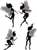 Fairy,Silhouette,Women,Artificial Wing,The Human Body,Black Color,Small,Teenage Girls,Beautiful,Flying,Braids,Fragility,Social Gathering,People,Communication,Talking,Group Of People