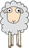 Cut Out,Animal,Cartoon,Mammal,Illustration,2015,Pets,Vector,Drawing - Art Product,Sheep,Scribble,Wool,Smiling,White Color,Black Color,White Background
