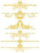 Crown,Nobility,Scroll Shape,Gold Colored,heraldic,Single Line,Ornate,Dividing,filigree,Old-fashioned,Design Element,Vector,Victorian Style,Art Nouveau,Swirl,Arrow Symbol,Gothic Style,Art Deco,Engraved Image,Curve,Symmetry,Leaf,Engraving,Squiggle,Spiral,Mirrored Pattern,Vector Florals,Vector Ornaments,Vector Backgrounds,Curled Up,footer,Foliate Pattern,Illustrations And Vector Art