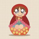 Adult,Women,Russia,Russian Nesting Doll,Ornate,Doll,Toy,Wood - Material,Illustration,People,Symbol,2015,Family,Cultures,Russian Culture,Souvenir,Vector,Multi Colored,Red,Pattern