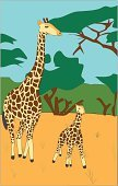Giraffe,Africa,Tree,Plain,Cartoon,Vector,Animal,Large,Colors,Wildlife,Art,Fur,Non-Urban Scene,Fur,Pattern,Bush,Mammal,Animals In The Wild,Sand,Illustrations And Vector Art,Mother,Nature,Sketch,Ilustration,Bright,Long Hair