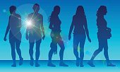 Adult,Women,Silhouette,Females,Outdoors,Blue,Holiday - Event,Lens Flare,Senior Adult,Togetherness,Summer,Illustration,People,The Human Body,Reflection,Human Body Part,Profile View,2015,Group Of People,Shoulder Bag,Unrecognizable Person,Sunlight,Young Adult,Real People,Vector,Walking,Digitally Generated Image,Sunset