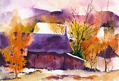 Watercolor Painting,Landscape,Autumn,Scenics,Ilustration,House,Mountain,Backgrounds,Nature,Tree,Orange Color,Red,Beauty In Nature,Multi Colored