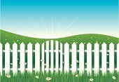 Gate,Fence,Picket Fence,Wood - Material,White,Seamless,Grass,Flower,Sky,Vector,Entrance,Lawn,Backgrounds,Green Color,Ilustration,Closed,Nature Backgrounds,Landscapes,Vector Backgrounds,Blue,Illustrations And Vector Art,Nature