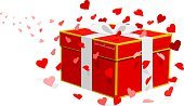 Background,Love,Cute,Beauty,Valentine's Day - Holiday,Open,Box - Container,Illustration,2015,Valentine Card,Ribbon - Sewing Item,Flying,Moving Up,Opening,Heart Shape,Crate,Gift,Backgrounds,Vector,Red