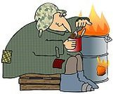 Tramp,Homelessness,Cartoon,Bean,Flame,Eating,Men,Lifestyle,People,Adults,Fire - Natural Phenomenon,Male,Ilustration,Disposable,Crate