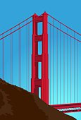 Golden Gate Bridge,San Francisco County,Bridge - Man Made Structure,California,Vector,Famous Place,Computer Graphic,Built Structure,Red,Ilustration,Vector Backgrounds,Industrial Objects/Equipment,Objects/Equipment,Illustrations And Vector Art,Backgrounds,Vertical