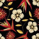 Vintage style,Hawaiian Ethnicity,Dietary Fiber,Flower,Tropical Climate,Hibiscus,Petal,Appliqué,Cotton Plant,Illustration,Leaf,Fashion,2015,Single Flower,Ginger,Seamless Pattern,Embroidery,Clothing Design Studio,Hawaiian Culture,Fiber,Arts Culture and Entertainment,Vector,Stitching,Cotton,Black Background,Wool,Floral Pattern