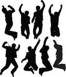 Jumping,Silhouette,Teenager,Men,Dancing,Cheerful,Back Lit,Happiness,Teenagers Only,Success,Vector,Clubbing,Flying,Young Adult,Lifestyle Backgrounds,Dance,Teens,Isolated On White,Lifestyle,Arts And Entertainment