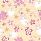 No People,Flower,Animal,Petal,Illustration,2015,Single Flower,Seamless Pattern,Embroidery,Bird,Ladybug,Small,Insect,Beetle,Vector,Stitching,Orange Color,Striped,Floral Pattern