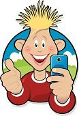 Teenager,Mobile Phone,Teenagers Only,Telephone,Camera - Photographic Equipment,Cool,Little Boys,Selfie,Image,Smiling
