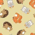 Baby,Forest Animals,Square,Squirrel,Anteater,Animal,Cute,Animal Themes,Animals In The Wild,Illustration,Porcupine,Fashion,Seamless Pattern,Bird,Rodent,Owl,Arts Culture and Entertainment,Vector