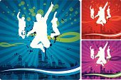 Teenager,Jumping,Silhouette,Action,Cityscape,Party - Social Event,Dancing,Grunge,Men,City,Pattern,Back Lit,Backgrounds,Male,Youth Culture,Wave Pattern,Spray,Teenagers Only,Splattered,Entertainment,Nightlife,Dancer,Motion,Urban Skyline,Retro Revival,Young Adult,Disco Dancing,Color Image,Urban Scene,Multi Colored,Modern,Night,Fun,City Life,Hip Hop,Nightclub,Town,Elegance