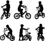 Bicycle,Child,Cycling,Little Boys,Playing,Offspring,Vector,Wheel,Shadow,Student,Learning,Boy Scout,Ilustration,Outdoors,Activity,Black Color,Tracing,People,Lifestyle,Illustrations And Vector Art,Gesturing