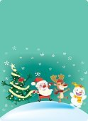 Vertical,Holiday - Event,Greeting Card,Surprise,New Year's Eve,New Year's Day,Christmas,Snowflake,Decorating,Illustration,Poster,Joy,Happiness,Snowman,Winter,Billboard Posting,Christmas Tree,Reindeer,New Year,Snow,Book Cover,Santa Claus,Tree,Vector,Smiling