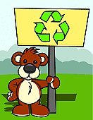 Bear,Cartoon,Recycling,Recycling Symbol,Animal,Sign,Nature,Illustrations And Vector Art,Animals And Pets,Concepts And Ideas,Message