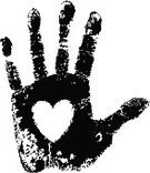 Heart Shape,Handprint,Human Hand,Human Heart,Print,Hand On Heart,Black Color,Love,Valentine's Day - Holiday,Ilustration,Vector,Giving,Charity and Relief Work,Monochrome,Assistance,Service,A Helping Hand,Isolated,Isolated On White