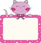 Domestic Cat,Cartoon,Cute,Frame,Animal,Kitten,Pets,Sign,Pink Color,Invitation,Vector,Animal Themes,Purple,Birthday,Cheerful,Clip Art,Computer Graphic,Placard,Smiling,Ilustration,Happiness,Holiday,Design Element,Digitally Generated Image,Message,Party - Social Event,Color Image,Horizontal,Holidays And Celebrations,Cats,Illustrations And Vector Art,Animals And Pets,Copy Space,Celebration,Present Tag