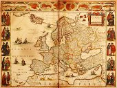 Map,Old,Cartography,Europe,Antique,Spain,Old-fashioned,France,Retro Revival,Italy,Poland,History,UK,Germany,Republic of Ireland,Norway,Image Created 18th Century,Russia,Topography,Hungary,Austria,Sweden,Iceland,European Union,European Union Currency,European Culture,Frame,Physical Geography,Ornate,Decoration,Document,Politics,Eastern Europe,Macro,Government,Composition,National Landmark,Color Image,Horizontal,1940-1980 Retro-Styled Imagery,Arts And Entertainment,Travel Locations,Visual Art,Western Europe,Illustrations And Vector Art,No People