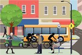 Street,City,Bus Stop,Urban Scene,Store,Bus,Pedestrian,Cycling,People,Corner,Sidewalk,City Life,Crosswalk,Built Structure,Vector,Green Color,Ilustration,Building Exterior,Tree,Electric Car,Environmental Conservation,Bicycle Messenger,Awning,Window,Public Transportation,Shuttle Bus,small car,Unrecognizable Person,Number of People