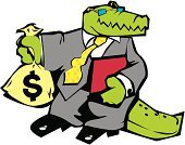 Crocodile,Cartoon,Businessman,Business,Clip Art,Vector,Dollar Sign,Gray,Green Color,Sack,Ilustration,Suit,Reptiles,Illustrations And Vector Art,Vector Cartoons,Business Symbols/Metaphors,Animals And Pets,Business,vector illustration