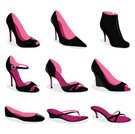 Shoe,High Heels,Fashion,Stiletto,Silhouette,Vector,Sandal,Pink Color,Ilustration,Pump Shoe,Personal Accessory,Black Color,Slipper,Elegance,Style,Computer Graphic,Isolated,Group of Objects,heeled,Peep Toe,Man Made Object,Close-up,Beauty And Health,Fashion,Isolated Objects,Lifestyle