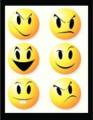 Smiley Face,Smiling,Irritation,Human Mouth,Displeased,Furious,Anger,Sullen,Sulking,Cheap,Cruel,Symbol,Human Eye,Religious Icon,Facial Expression,Yellow,Vector,Cheerful,Computer Icon,Happiness,Sadness,Multi Colored,Ilustration,Shadow,Concepts And Ideas,Illustrations And Vector Art,Circle,People,Character Traits,Vibrant Color,Depression - Sadness