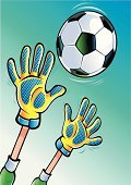 Soccer,Goalie,Sports Glove,Goaltending,Human Hand,Soccer Ball,Catching,Ball,Reaching,Penalty,Rubber,Pushing,Gripping,Stop Gesture,Diving,Spinning,Throwing,Human Arm,Sports Uniform,Sports And Fitness,Competitive Sport,Illustrations And Vector Art,Button Down Shirt,Team Sports,Vector Cartoons,Shooting at Goal,Actions