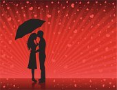Couple,Umbrella,Silhouette,Kissing,Rain,Romance,Love,Women,Red,Men,Black Color,Heart Shape,Profile View,Valentine's Day - Holiday,Vector,Flirting,Backgrounds,Dating,Clip Art,Outline,Circle,People,Holidays And Celebrations,People,Illustrations And Vector Art,Valentine's Day,Vector Backgrounds,Holiday,Star Shape,Ilustration,Design Element