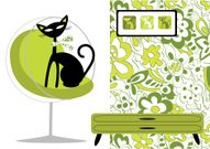 Domestic Cat,1940-1980 Retro-Styled Imagery,Retro Revival,1950s Style,Furniture,Wallpaper,Black Color,Pattern,Chair,Cool,Domestic Room,Vector,Floral Pattern,Indoors,Funky,Ilustration,Inside Of,Deco,Decor,Fun,Green Color,Decoration,Sitting,Domestic Life,Wallpaper Pattern,Elegance,Feline,Animals And Pets,Vector Cartoons,Illustrations And Vector Art,Cats,Vector Backgrounds