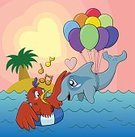 70741,60912,Odd Couple,Out Of Context,Bizarre,Mid-Air,Tropical Climate,Music,Female Animal,Love,Palm Tree,Animal Wildlife,Animal,Sea,Swimming,Valentine's Day - Holiday,Cartoon,Cheerful,Illustration,Musical Note,Two Animals,Male Animal,Island,Flying,Couple - Relationship,Heterosexual Couple,Happiness,Wave,Balloon,Bird,Heart Shape,Vertebrate,Levitation,Water,Arts Culture and Entertainment,Vector,Dolphin,Party - Social Event,Inner Tube,Sunset,Blue,Multi Colored,Singing,Red,Pink Color