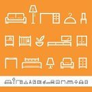 Furniture,Symbol,Sofa,Chair,Icon Set,Closet,Bed,Indoors,Vector,Modern,Cabinet,Crib,Electric Lamp,Desk,Table,Outline,Coathanger,Single Line,Bookshelf,Floor Lamp,Houseplant,Design Element,No People,Childrens Bed,Illustrations And Vector Art,Vector Icons