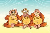 Monkey,Ape,Three Animals,Talking,Listening,Cartoon,Looking,Animal,Humor,Caricature,Sitting,Concepts And Ideas,Animals And Pets,Drawing - Art Product,Mammals,Fun,Illustrations And Vector Art,Vector Cartoons,Vector,Group Of Animals,Ilustration,Pencil Drawing,Smiling