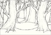 Forest,Tree,Branch,Drawing - Activity,Ilustration,Vector,Black And White,Nature,Leaf,Landscapes,Nature,Isolated On White,Illustrations And Vector Art