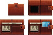 Wallet,Leather,Open,Credit Card,Brown,Vector,Currency,Dollar,Ilustration,One Hundred Dollar Bill,Closed,Money Pouch,Empty,Household Objects/Equipment,Objects/Equipment,Full,Illustrations And Vector Art