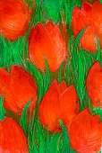 Paintings,Watercolor Painting,Abstract,Flower,Painted Image,Floral Pattern,Paint,Red,Tulip,Plant,Nature,Green Color,Backgrounds,Leaf,Natural Pattern,Springtime,Nature Symbols/Metaphors,Nature Backgrounds,No People,Large Group of Objects,Design,Vertical,Season,Nature,Lily Family,Pattern,Homemade