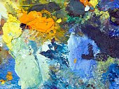 Still Life,Close-up,Horizontal,Creativity,No People,Acrylic,Oil Paint,Craft,Art And Craft,Art,Painting,Studio Shot,Oil Painting,Palette,Paint,Acrylic Painting,Paintings,Photography,Fine Art Painting,Material,Blue,Multi Colored,Textured