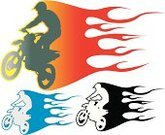 Motocross,Motorcycle Racing,Cycling,Biker,Extreme Sports,Flame,Engine,Speed,Stunt,Silhouette,Ilustration,Sport,Vector,Fire - Natural Phenomenon,Black Color,Heat - Temperature,Jumping,Sports Helmet,Activity,Outdoors,Burning,Action