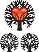 Tree,Heart Shape,Circle,Love,Plant,Symbol,Religious Icon,Vector,Nature,Branch,Nature,Plants,Tree Trunk,Valentine's Day - Holiday,Illustrations And Vector Art