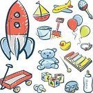 Toy,Childhood,Doodle,Sketch,Symbol,Drawing - Art Product,Ilustration,Vector,Fun,hand drawn,Group of Objects,Computer Graphic,Digitally Generated Image,Color Image,Childishness,Play Things,Colors
