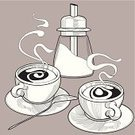 Coffee - Drink,Retro Revival,Ilustration,Tea - Hot Drink,Food,Cup,Sugar,Steam,Engraving,Cafe,Vector,Engraved Image,Cream,Sugar Bowl,Drink,Black Color,Plate,White,Restaurant,Spoon,Clip Art,Meal,Design Element,Decoration,Isolated,Drinks,Eating,Illustrations And Vector Art,Food And Drink