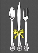 Silverware,Fork,Spoon,Table Knife,Pattern,Kitchen Utensil,Tied Knot,Ribbon,Ilustration,Drawing - Art Product,Crockery,Cute,Swirl,Pencil Drawing,Household Objects/Equipment,Vector Cartoons,Black Color,Illustrations And Vector Art,Objects/Equipment