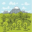 Landscape,Cartoon,Mountain,Forest,Mountain Range,Tree,Nature,Vector,Summer,Ilustration,Wilderness Area,Day