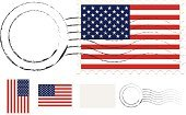 Postage Stamp,Mail,USA,Postmark,Flag,Striped,Fourth of July,Patriotism,Red,Blue,White,Star Shape,Correspondence,American Flag
