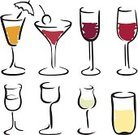 Wineglass,Glass,Cocktail,Martini Glass,Champagne Flute,Symbol,Drawing - Art Product,Sketch,Alcohol,Pencil Drawing,Line Art,Ilustration,Isolated,Liqueur Glass,Vector Cartoons,Vector Icons,Illustrations And Vector Art