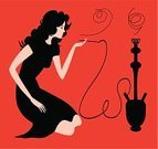 Hookah,Smoking,Women,Smoke - Physical Structure,Vector,People,Smoking Issues,Profile View,Female,Computer Graphic,Fumes,Ilustration,Tobacco Product,Leisure Activity,One Person,Relaxation,Beauty,Design,Young Adults,Dusk,Solitude,Painted Image,People,Activity,Actions,Lifestyle